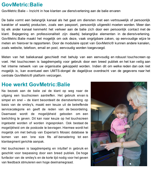 Govmetric website (klanttevredenheid metingen)